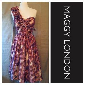 Maggy London Print Ruffle One Shoulder Dress Sz 6
